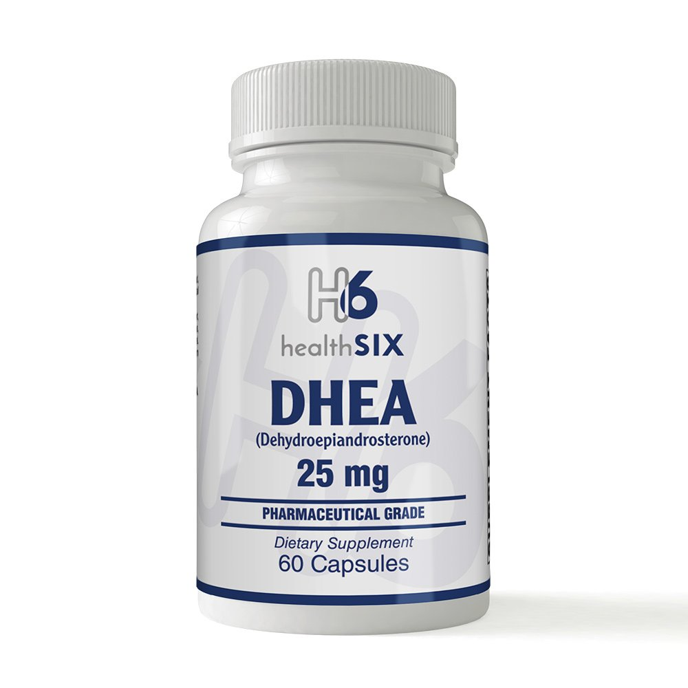Health SiX DHEA 25 MG 60 Capsules Pharmaceutical Grade for HIGHEST PURITY and QUALITY!