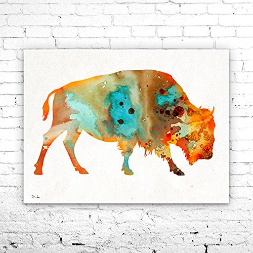 Bison 2 Watercolor Print, Fine Art Print, Children's Wall, Art Home Decor, animal watercolor, watercolor painting, bison watercolor