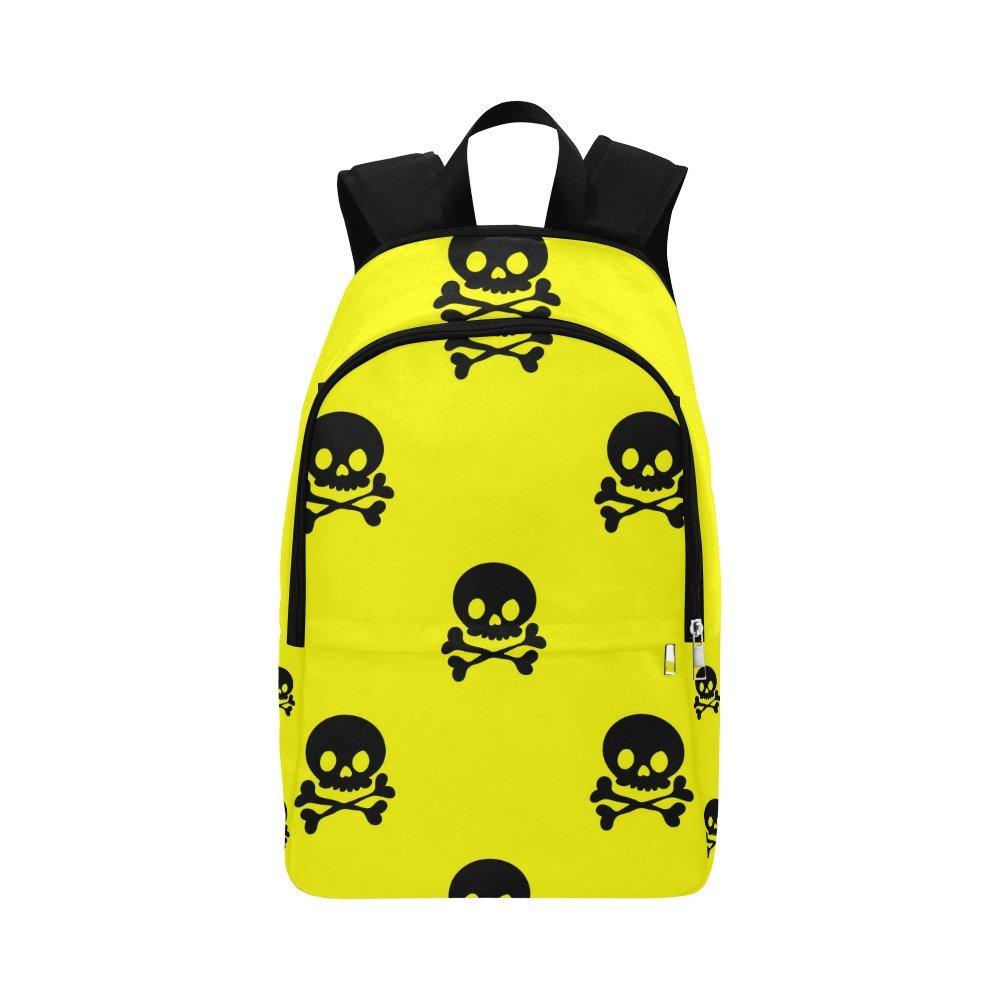 カスタムユニークカジュアルバックパックブラックスカルスクールバッグ旅行用デイパックギフト   B07DFC3NSY
