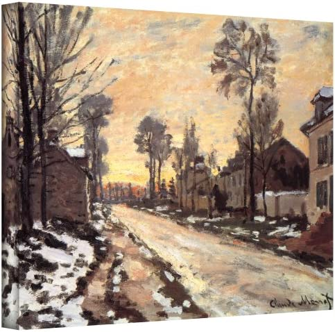 Art Wall Snowy Country Road Gallery Wrapped Canvas by Claude Monet, 24 by 32-Inch