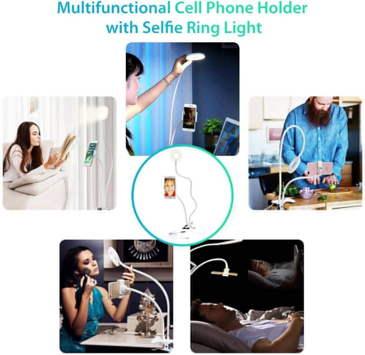 YAYONG LED Lighting USB Cell Phone Ring Light Selfie 3 Colors Adjustable Live Stream Makeup Camera Enhancing Fill Light