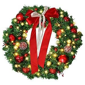 Amazon Com 24 Inch Christmas Wreath With Led Lights