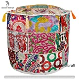 Indian Handmade Living Room Decorative Foot Stool Pouf Cover Cotton Chair Cover, Vintage Patchwork Ottoman, Round Floor Pouf, Hand Embroidred Pouf Ottoman
