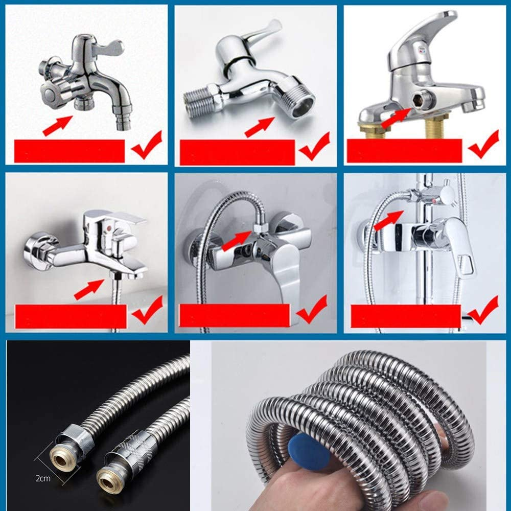 mioni 2meter shower hose pipe Stainless Steel Replacement Anti-Kink Hi Flow Double Interlock Shower Hose?Metal Shower Hose