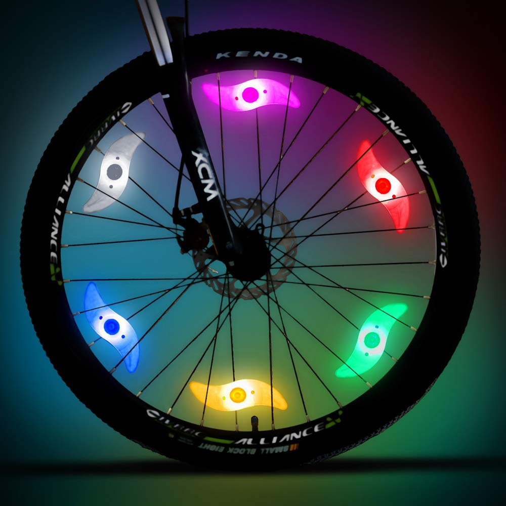 WINCENG Bike Spoke Light 6 Pack Led Bike Wheel Light with Batteries  Included Plus 6 Extra 4f24683aa