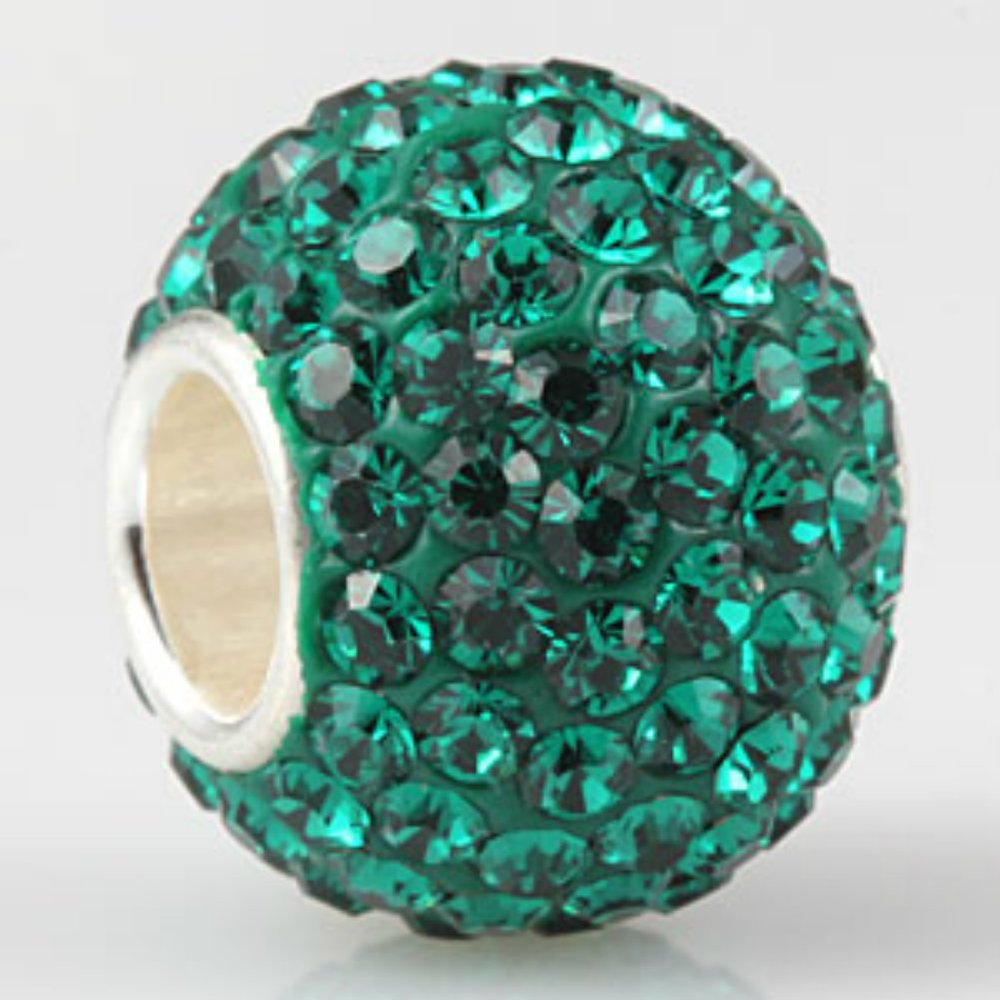 Emerald-Green-Ball-Crystal-Pave-Sparkle-Bling-May-Birthstone-925-Silver-Bead-Jewelry