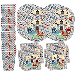 Medieval Knight Castle Birthday Party Supplies Set Plates Napkins Cups Tableware Kit for 16