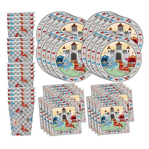 Medieval Knight Castle Birthday Party Supplies Set Plates Napkins Cups Tableware Kit for 16 ()