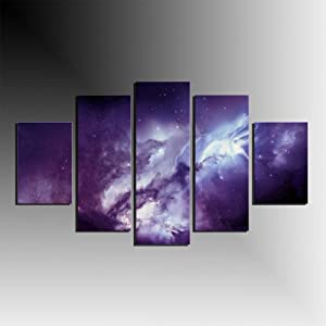 5 Panels Purple Angel Galaxy Canvas Print Painting Modern Canvas Wall Art for Wall Decor Home Decoration Artwork Framed Ready to Hang