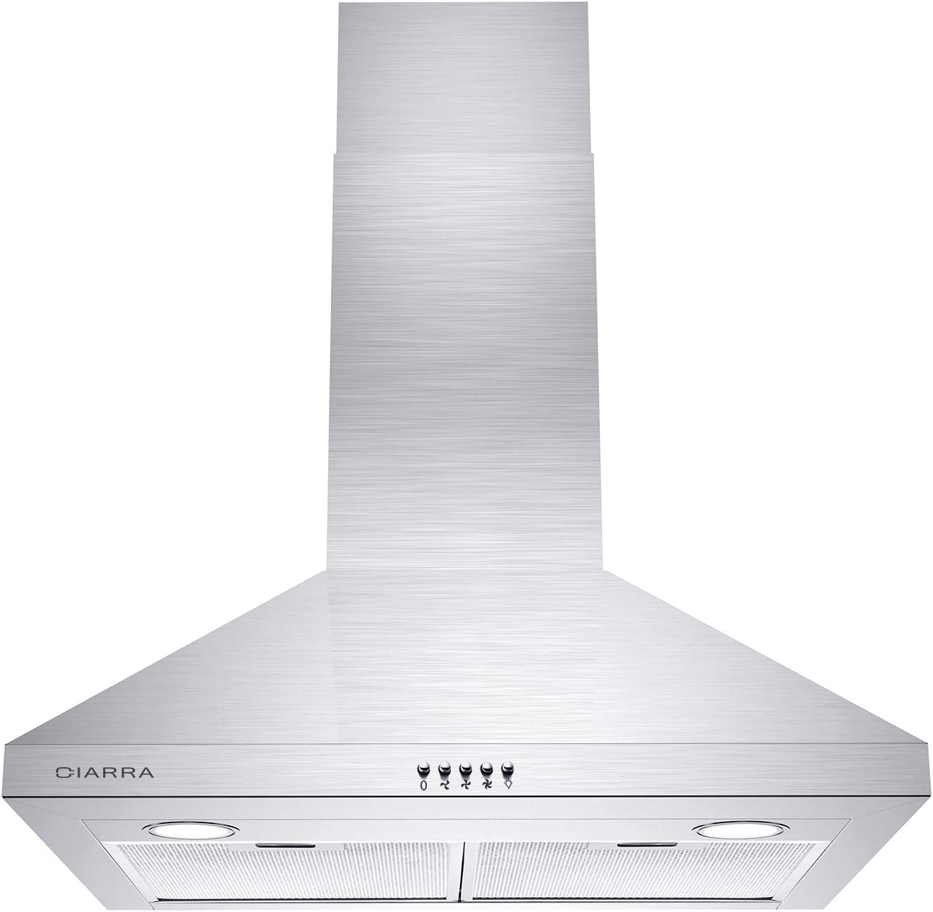 CIARRA CAS75206P 450 CFM Wall Mount Range Hood 30 inch Stainless Steel Stove Vent Hood with 3 Speed Exhaust Fan, Aluminum Mesh Filters, Ducted/Ductless Convertible Duct, Push Button