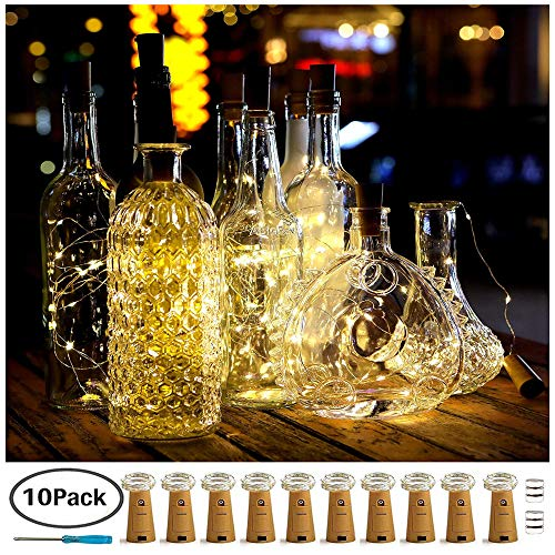 Aurora of love 20 LED Wine Bottle Lights with Cork, 10 Pack 6.6ft/2meter Craft Cork Copper Wire Starry Fairy Lights, for DIY Events Party Wedding Christmas Halloween (10 Pack-Warm White) -