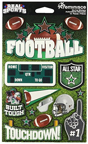 Football Scrapbooking - Reminisce 27112671 Real Sports Dimensional Stickers 4.5