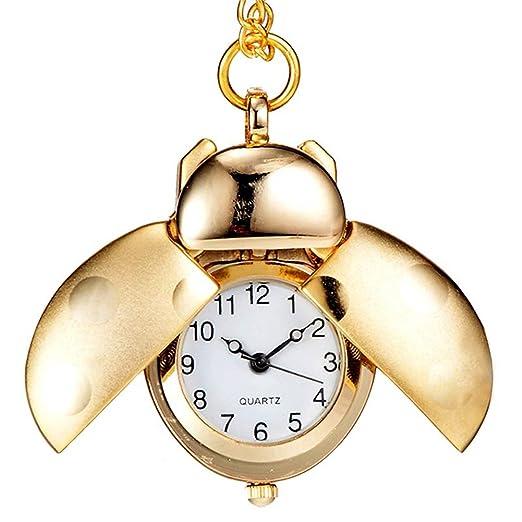 Dxlta Moda Forma de Escarabajo Reloj de bolsillo | Cuarzo Colgante de Collar Cadena -Regalos