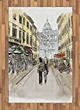 Modern Area Rug by Lunarable, Tourist Couple Walking in Italian Street in Pisa European Historical Town Watercolor, Flat Woven Accent Rug for Living Room Bedroom Dining Room, 4 x 6 FT, Multicolor