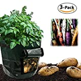 #6: ZALALOVA Grow Bags, 3-Packs Garden Vegetables Planter Bags with Handles and Flap Heavy Duty for Potato, Carrot, Tomato and Onion (7 Gallon x 2 & 10 Gallon x 1)