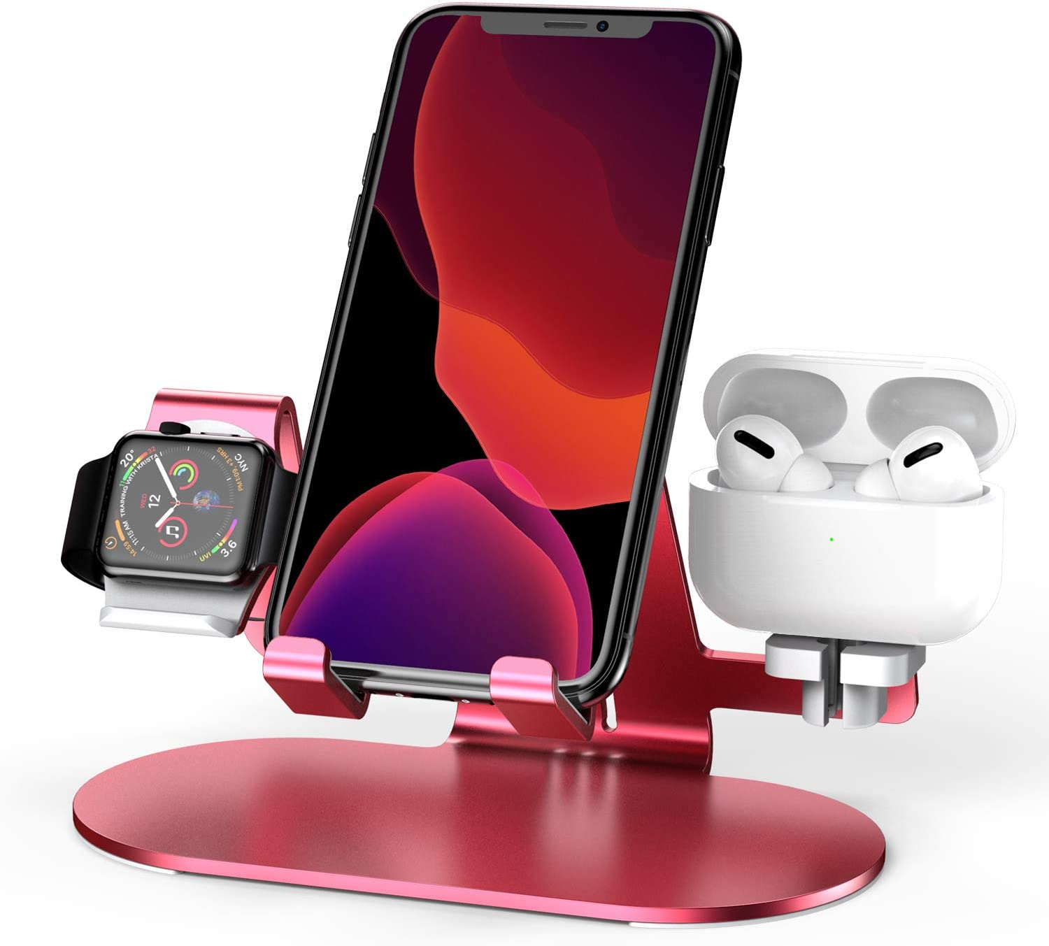 3 in 1 Aluminum Charging Station for Apple Watch Charger Stand Dock for iWatch Series 4/3/2/1,iPad,AirPods and iPhone Xs/X Max/XR/X/8/8Plus/7/7 Plus /6S /6S Plus(Red)