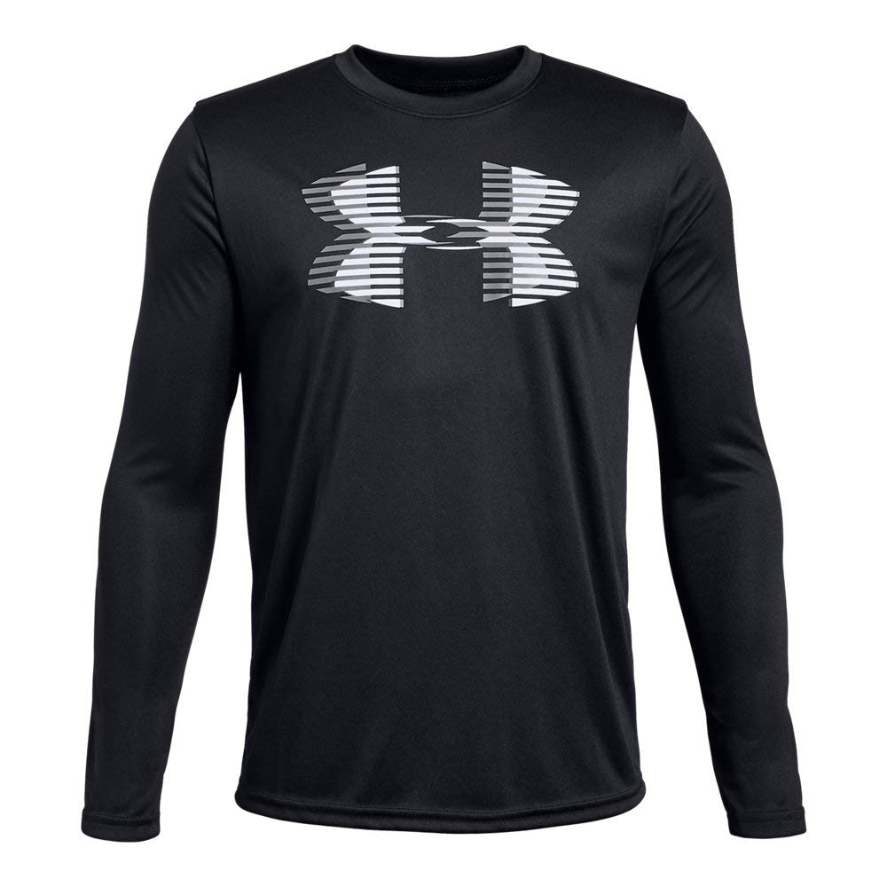 Under Armour Boys' Tech Big Logo Long sleeve Shirts, Black (001)/White, Youth Small