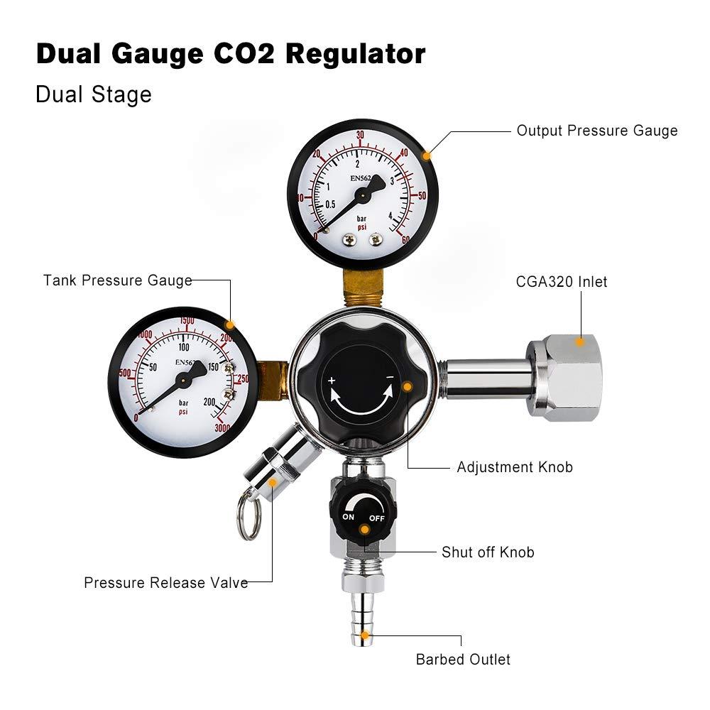 FERRODAY Dual Gauge CO2 Draft Beer Regulator Dual Stage Pressure Regulator CGA-320 CO2 Tank Beer Kegerator Regulator with Relief Valve Beer Keg Pressure Regulator for Homebrew 0-60 PSI 0-3000PSI by Ferroday (Image #2)