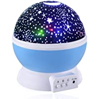 Skybaba Kids Night Light Stars Night Light Projector, 360 Degree Moon Star Projection Starry Sky Projector, Rotation Night Projection Lamp Kids Bedroom Bed Lamp Moon Star Lighting Lamp for Christmas