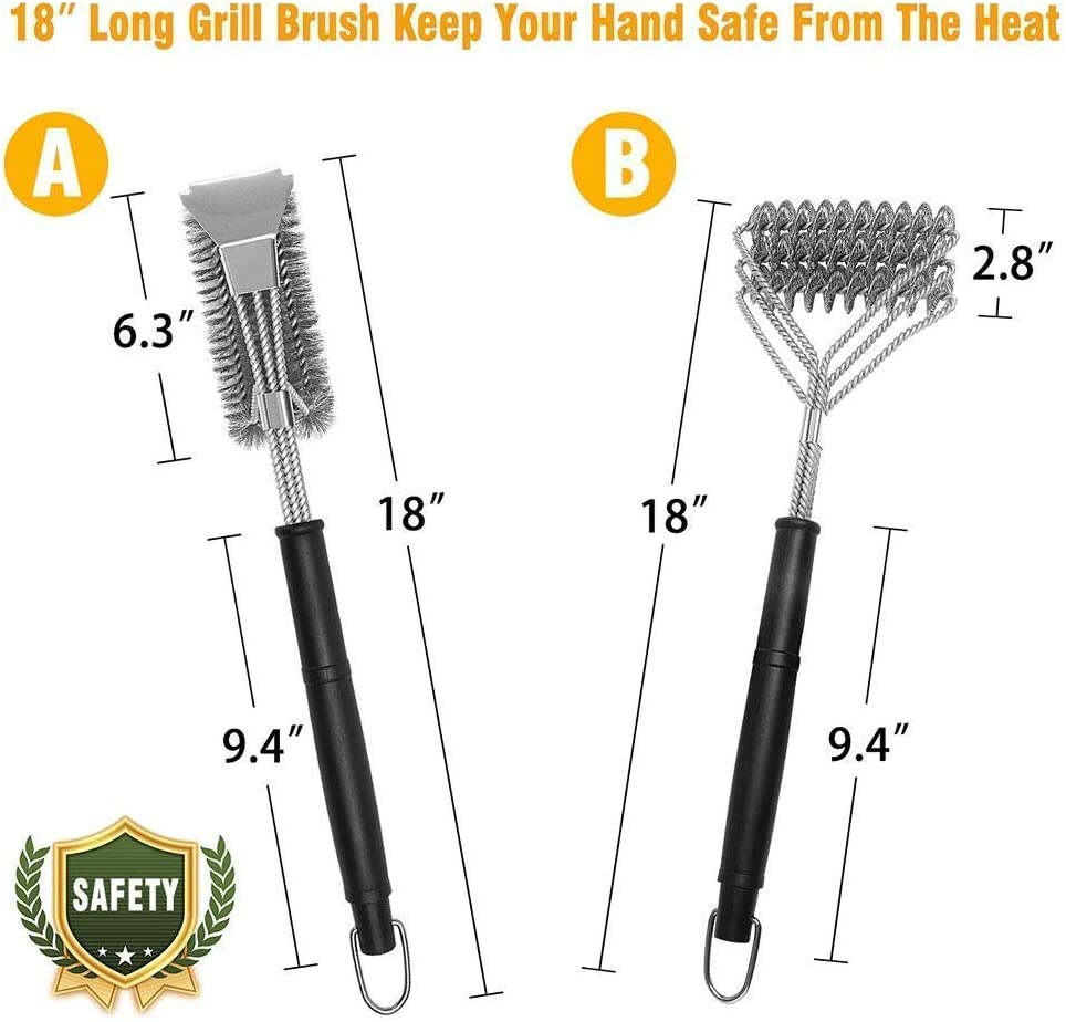 Stainless Steel BBQ Grill Brush Set of 2 18 Grill Tools Accessories Cast Iron Ceramic Grill Grate Cooking Grid Safe Grill Cleaning Brush Stainless Steel Bristle Free with Scraper for Porcelain