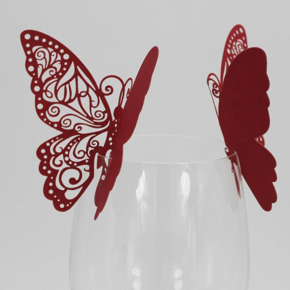 Exteren New 50 Pcs Butterfly Wine Glass Paper Card for Wedding Party White Water Cup Water Bottle Water Mug Flask (Red)