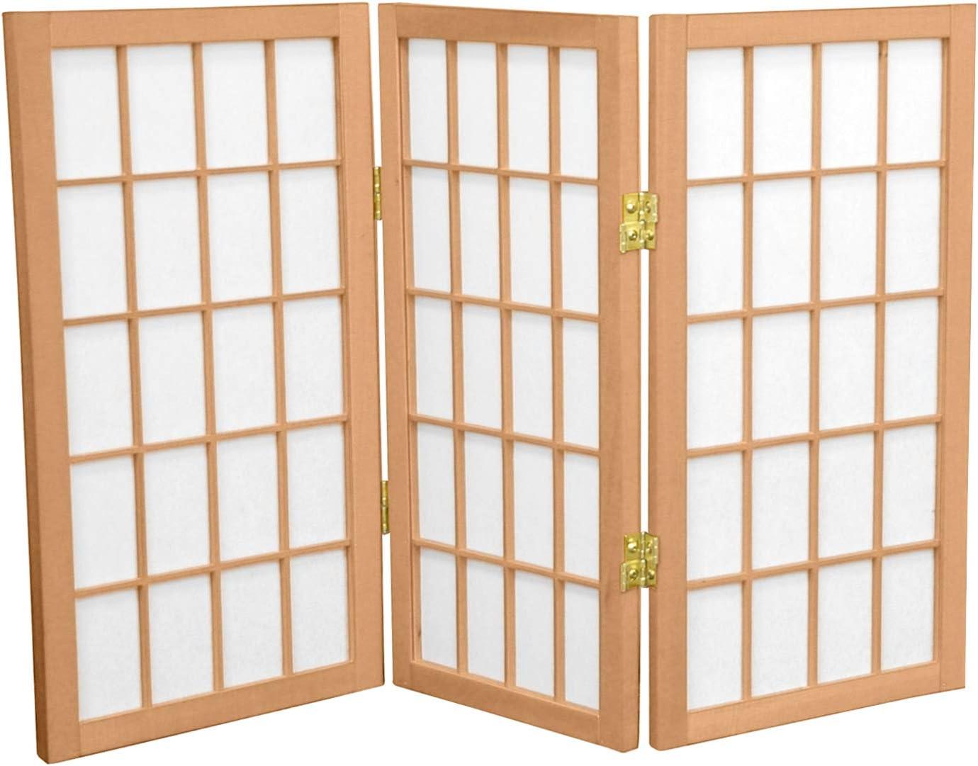 Oriental Furniture 2 ft. Tall Desktop Window Pane Shoji Screen - Natural - 3 Panels