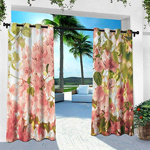 Biltmore Five Light - Hengshu Spring, Outdoor- Free Standing Outdoor Privacy Curtain,Bougainvillea Flowers Branches in Sunny Summer Blossoms Nature Park View, W108 x L84 Inch, Light Pink Olive Green