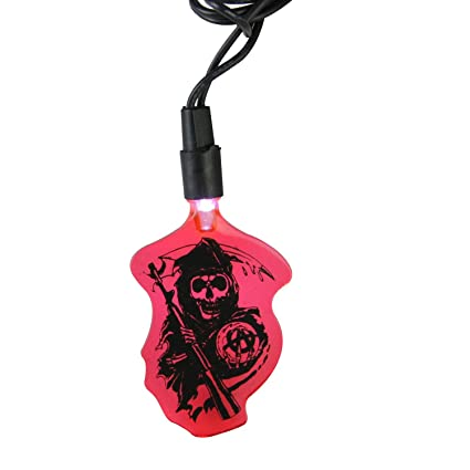 92f639d5c Kurt Adler Set of 10 Sons of Anarchy Red Grim Reaper Novelty LED ...