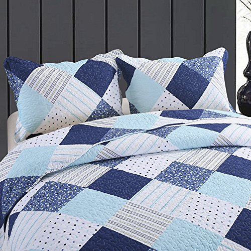NEWLAKE Cotton Bedspread Quilt Sets-Reversible Patchwork Coverlet Set, Geometric Country Style Pattern, Queen Size by NEWLAKE (Image #2)