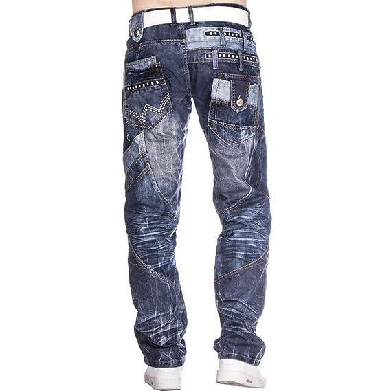 LAVECCHIA Herren Jeans Stein Blau Große Größen