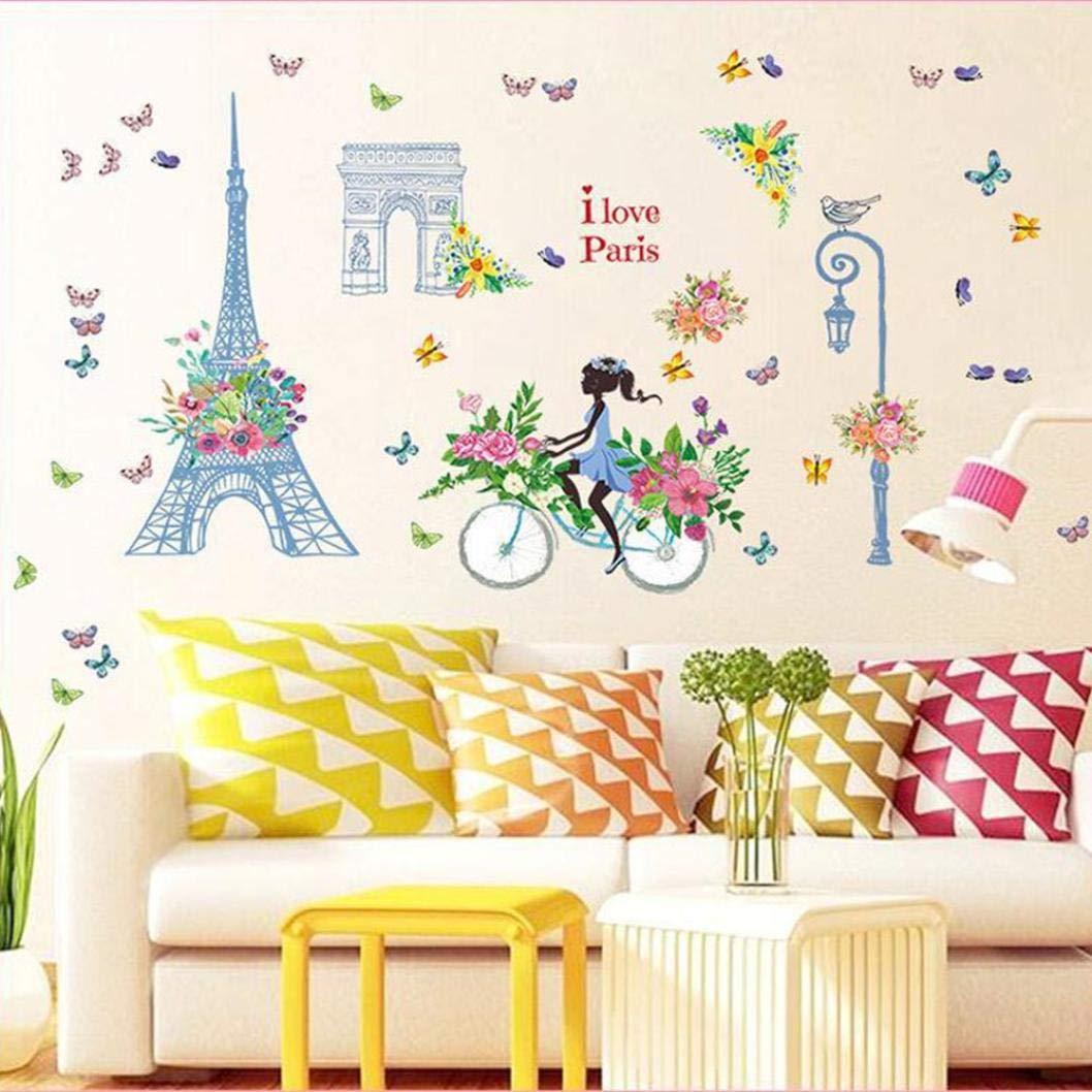 Amazon.com: Shybuy Girls Eiffel Tower Flower Butterfly Removable ...