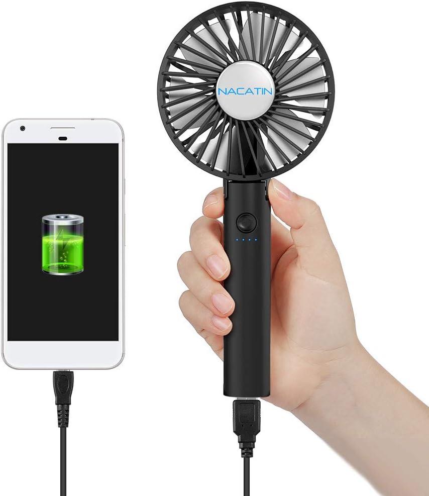 NACATIN Mini Ventilador de Mano Plegable con Power-Bank de 2600mAh, Ventilador Portátil USB Recargable con 6 Hojas y 5 Velocidades Ajustable, Ideal para Exteriores/Viajes/Oficina/Hogar