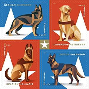 Military Working Dogs U.S. Postage Stamps Sheet of 20 Forever Postage Stamps Scott 4508B