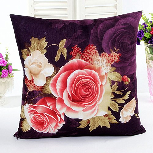 Kinghard Printing Dyeing Peony Sofa Bed Home Decor Pillow Case Cushion Cover (Purple)