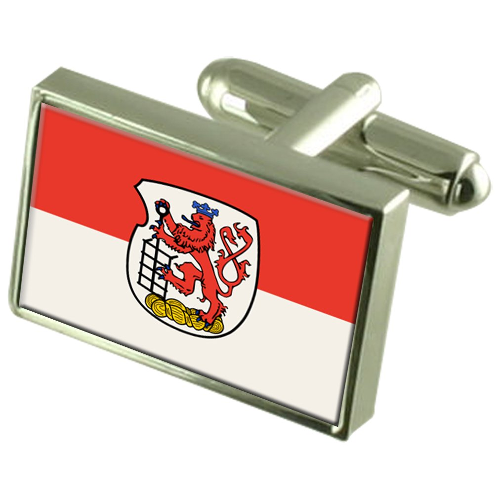 Select Gifts Wuppertal City Germany Flag Cufflinks Engraved Box