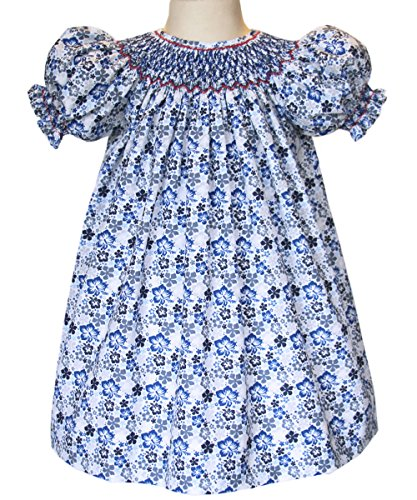 Fall Bishop Dress (Carouselwear Girls Hand Smocked Bishop Dress For Fall Blue and Grey Floral)