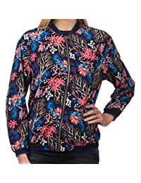 Chocolate Pickle Womens Navy Floral Print Full Zip Bomber Blazer
