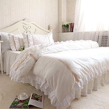 Tidetex Romantisches Weisses Betten Landlichen Stil 4 Luxus Spitze Bestickt Design Bettbezug Fashion Gemusterten Rock