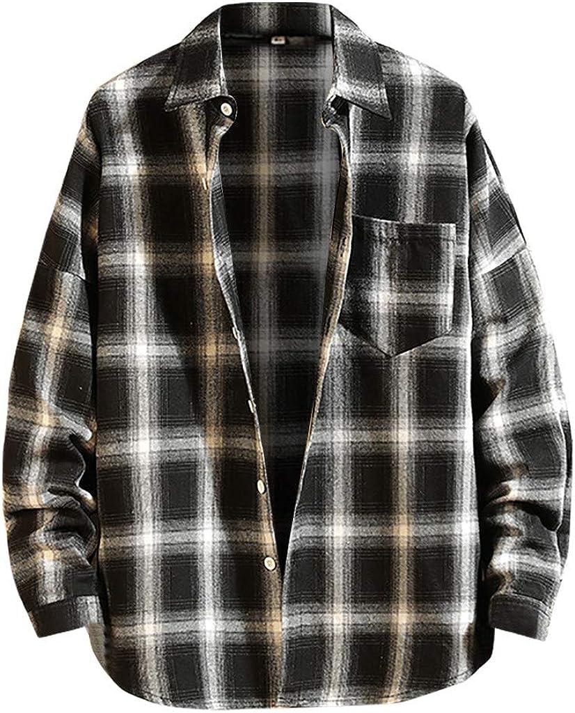 X-Future Mens Lapel Casual Long Sleeve Plaid Button Up Gentlemen Shirt
