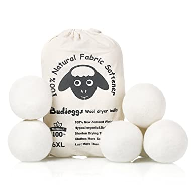 Budieggs Wool Dryer Balls Organic XL 6-Pack, 100% New Zealand Chemical Free Fabric Softener for 1000+ Loads, Baby Safe & Hypoallergenic, Reduce Wrinkles & Shorten Drying Time Naturally