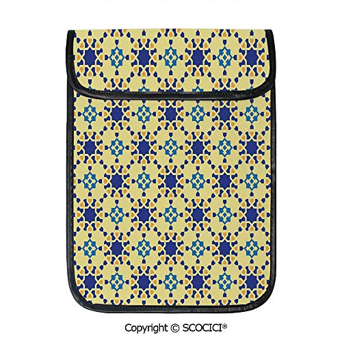 SCOCICI Tablet Sleeve Bag Case,Moroccan Ceramic Motif with Arabesque Persian Folk Effects Antique Design,Pouch Cover Cases for iPad Pro 12.9 in and Any - Ceramic Persian