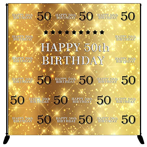Birthday Backdrop Gold Silver Step and Repeat Birthday Photography Background 6x6ft Vinyl 50th Birthday Party Banner, Party Decoration ()