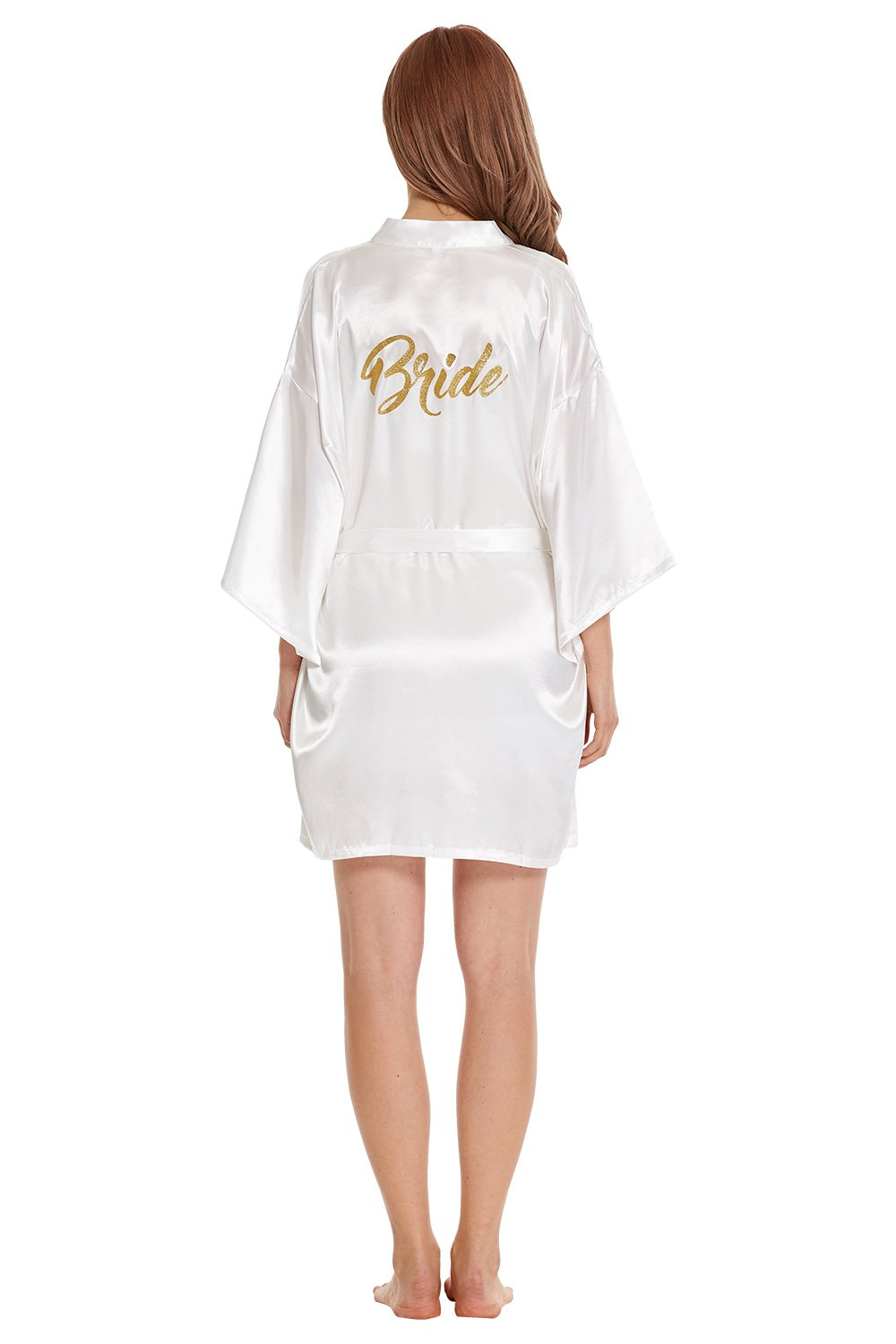 CHOICE99 Women's Bride Robe Short Kimono Robe Silk Satin Robes for Wedding Gifts with Gold Glitter (Gold(Bride), Medium)