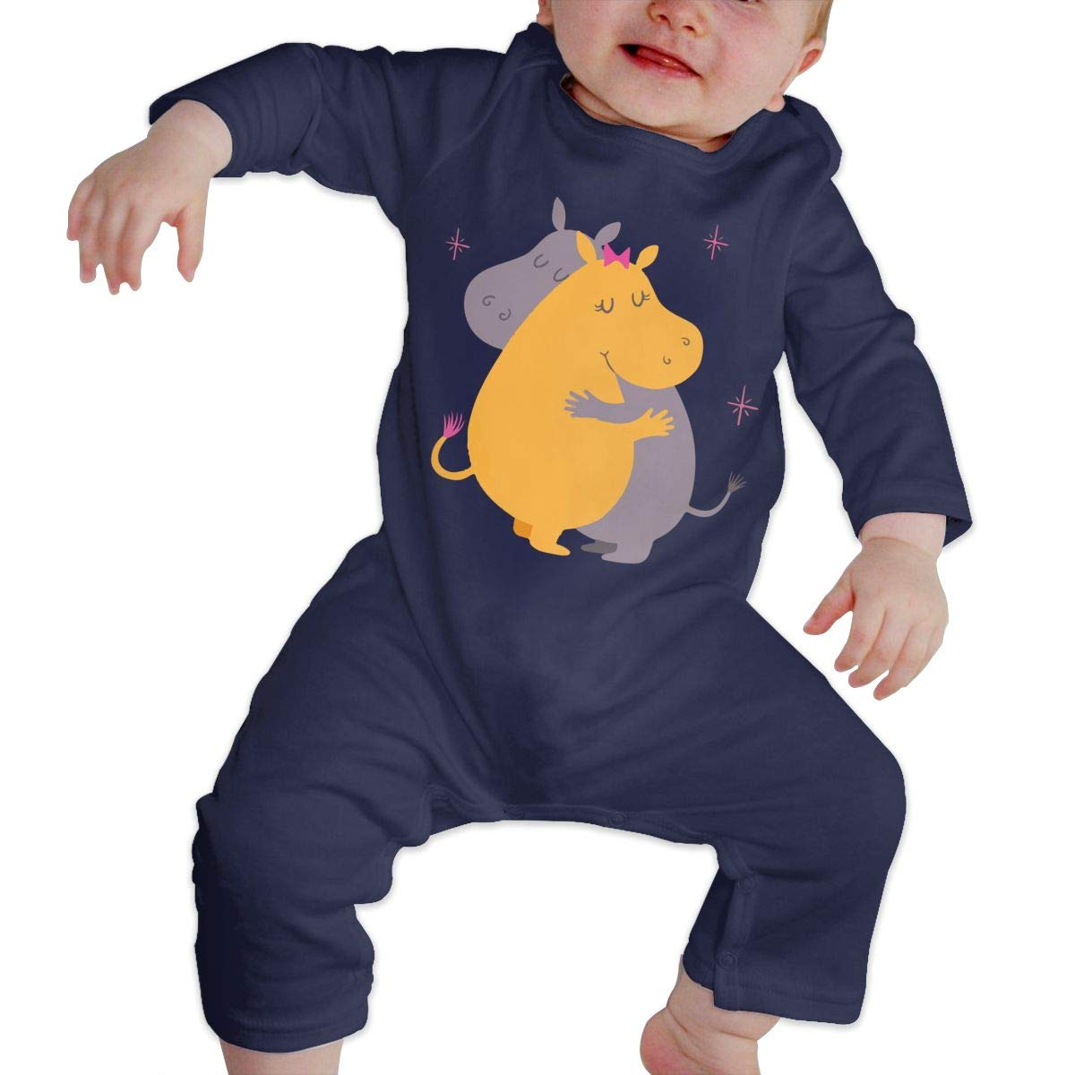 LBJQ8 Cute Hippos Hugging Baby Boy Girl Sleep and Play Romper Jumpsuit Bodysuit