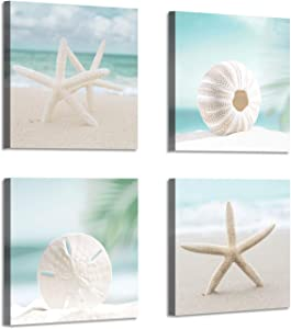 "Seashell Picture Canvas Wall Art: Beach Themed Artwork Painting Print for Wall Decor for Dining Room (12""x12""x4 Pcs)"