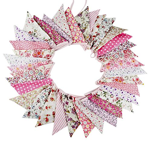 10M/32 Feet 36 PCS Lovely Triangle Bunting Flag Banner Pennant Garland Fabric Flags Double Sided Vintage Cloth Shabby Chic Decoration for Wedding, Birthday Party, Bedrooms (36pcs Pink) -