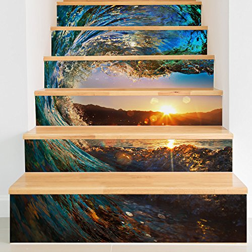 CaseFan 100x18cm 6PCS/set Self-adhesive 3D Ocean Wave Staircases Sticker Vinyl Removable Waterproof Stairway Decoration Wall Decal Paper(5 Sets)