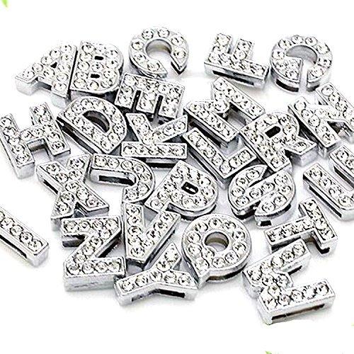 10 Slide Mm Charm - 130pcs A-Z Full Rhinestones 10mm Slide Alphabet Letters for 10mm Slide Wristbands/Bracelets,Jewelry Making Charms