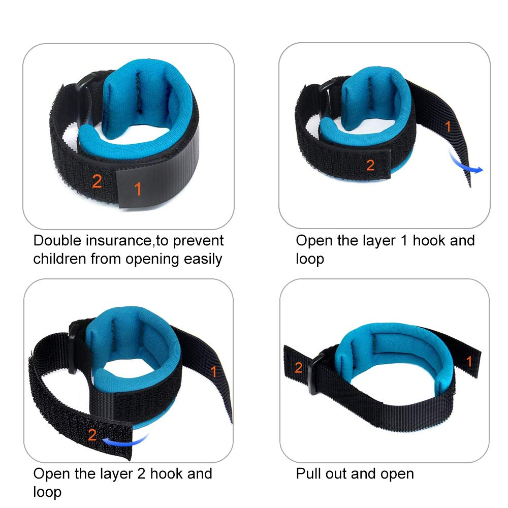 Babies/&Child Kids Outdoor Safety Hook and Loop Wristband with Elastic Firm Flexible Suitable for Toddlers 1 Pack Length 1.5m ,/ Blue YASSUN Anti Lost Wrist Link