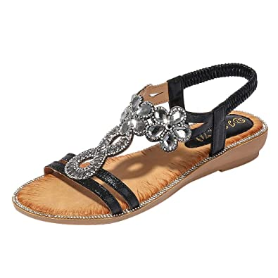Ladies Faux Leather White Open Toe Elastic Slingback Flower Diamante Flat Sandal